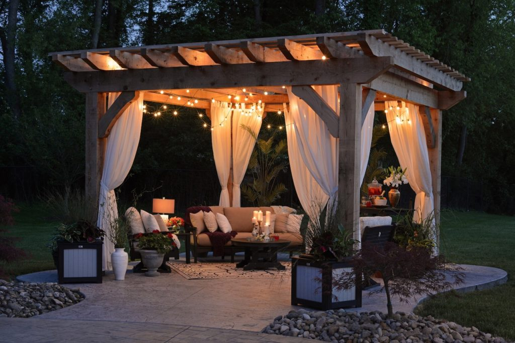 a pergola for a backyard party